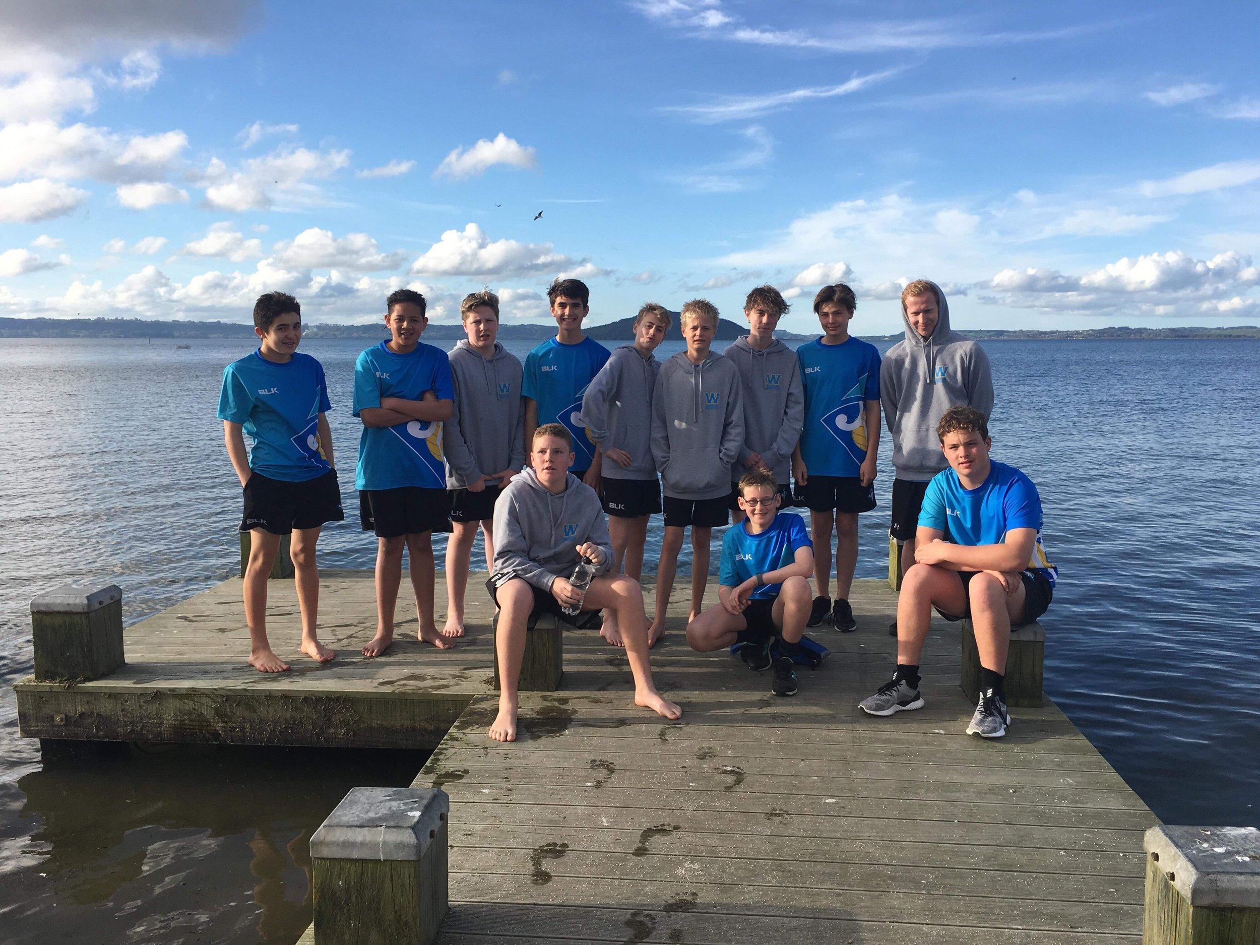 Under 14s boys enjoying some time off in Rotorua