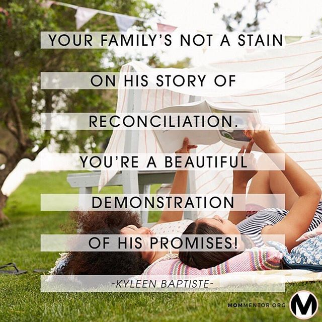"Shout out to all you blended families ♥️ ""Your Family isn't a stain on God's story of reconciliation. It's a beautiful demonstration of His promises!"" . . I'm SO honored to be a ✏️MomMentor.org Writer✏️ and here's a bit of my article that came out today! {link in Bio} . I pray you know you are sincerely loved and you don't have to do it alone. ♥️🙌🏽🙏🏽♥️"