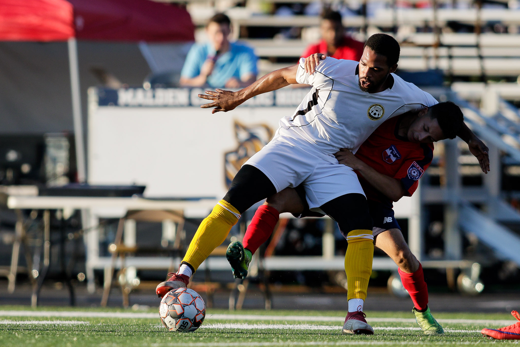 The teams compete in the North Atlantic Conference of the NPSL, a region that plays a physical brand of soccer. (c) Burt Granofsky