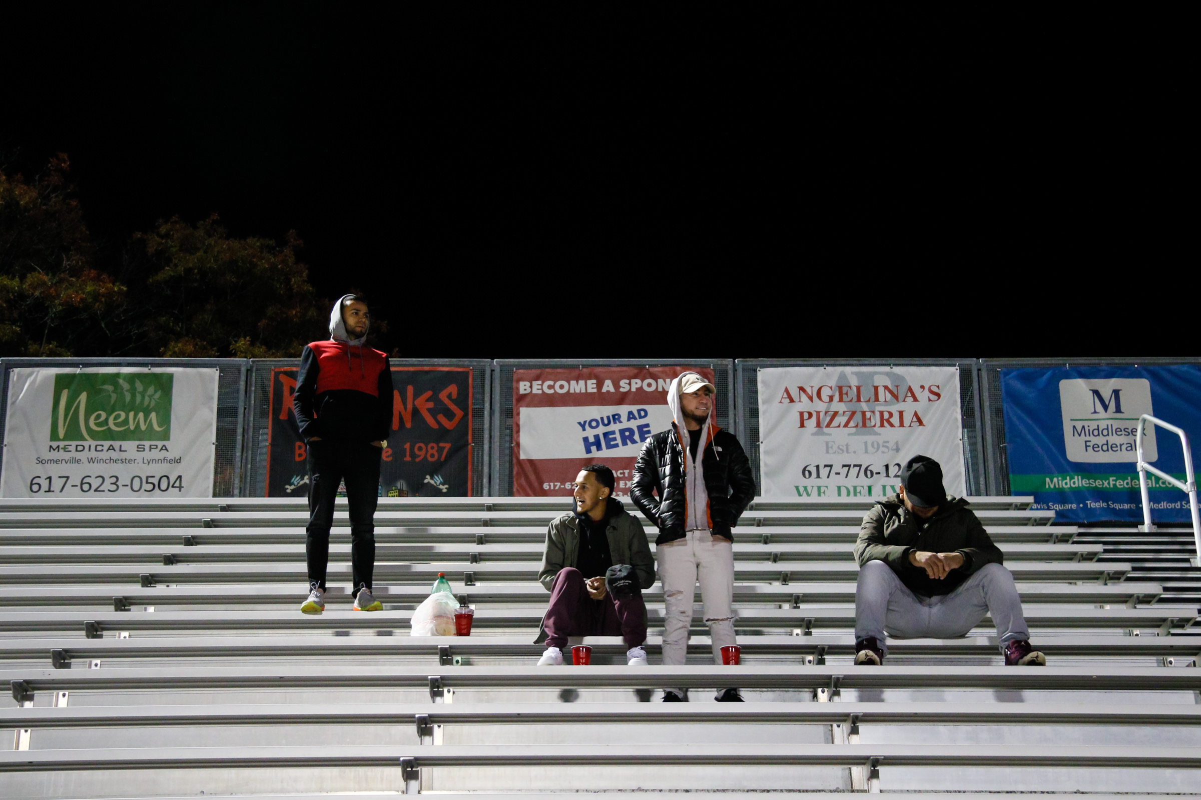Somerville, MA: A small band of fans watches the game. Safira FC defeated Boston City FC 4-1 in a 2019 Lamar Hunt U.S. Open Cup game on October 20, 2018. (c) Burt Granofsky