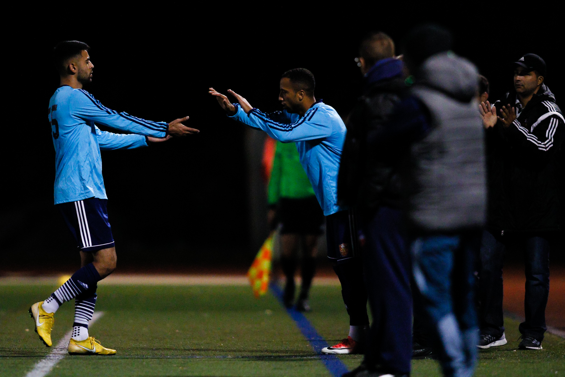 Somerville, MA: Wendell de Matos (Safira #55) is subbed off in the second half. Safira FC defeated Boston City FC 4-1 in a 2019 Lamar Hunt U.S. Open Cup game on October 20, 2018. (c) Burt Granofsky
