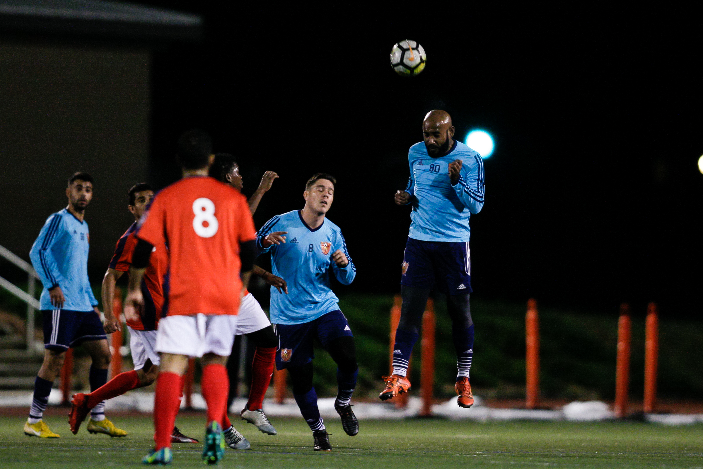 Somerville, MA: Geovane Lage Silva (Safira #80) heads the ball in traffic. Safira FC defeated Boston City FC 4-1 in a 2019 Lamar Hunt U.S. Open Cup game on October 20, 2018. (c) Burt Granofsky