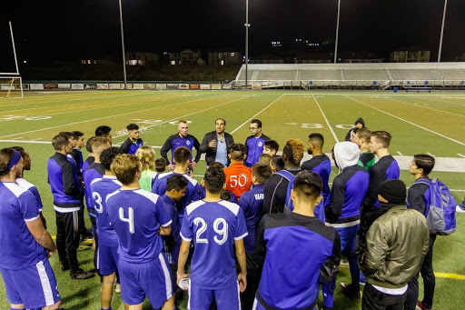 New Head Coach Christian Patiño motivates the squad before a match vs Vacaville Elite.