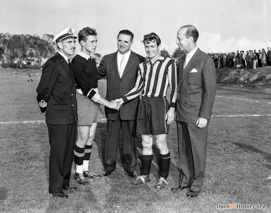 Matthew Boxer serving as an administrator welcomes players and dignitaries to Balboa Park Soccer Stadium (Photo: OpenSFHistory.org)