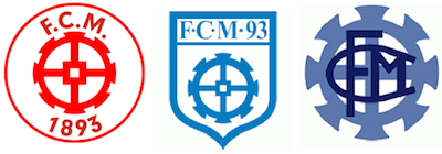 Club badges worn over the history of parent club FC Mulhouse of France's 3rd Division—the wheel or cog is derived from the city's coat of arms and represents the city's historic connection to the textile, machinery and railroad industries.