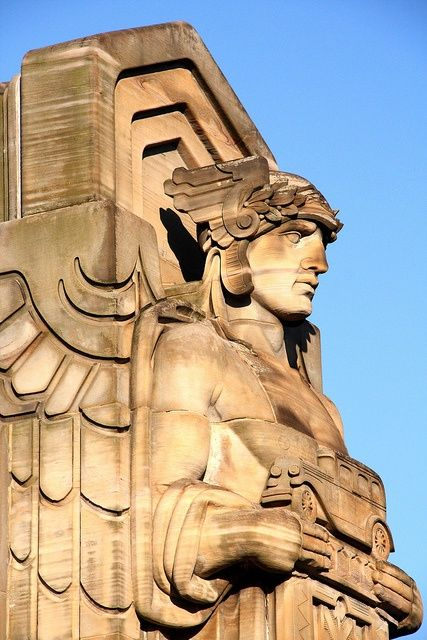 One of Cleveland's Guardians of Transportation that inspired Cleveland SC's crest.
