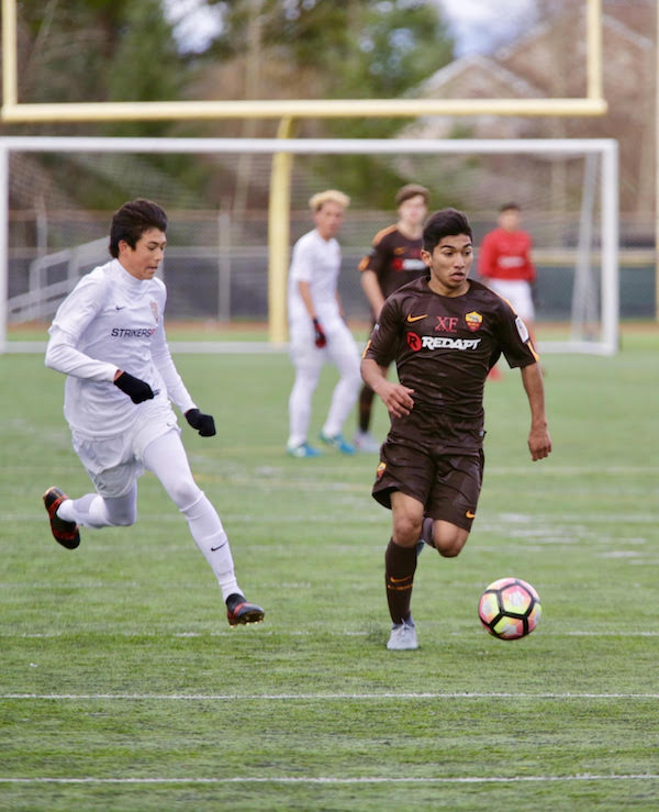 Christian Soto-Rincon in action for Crossfire during U.S. Soccer Development Academy play at Redmond High School.