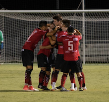 Laredo Heat celebrate during their 2018 playoff match. Image courtesy of  Laredo Heat SC .