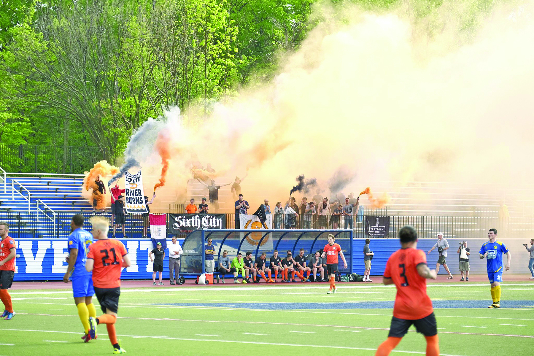 Cleveland SC playing in front of a smoky fanbase. Photo courtesy of Jason Harf (J Harf Media)
