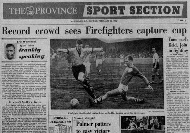 The Province took the Kennedy Cup seriously and gave Vancouver Firefighters the headline in 1962.
