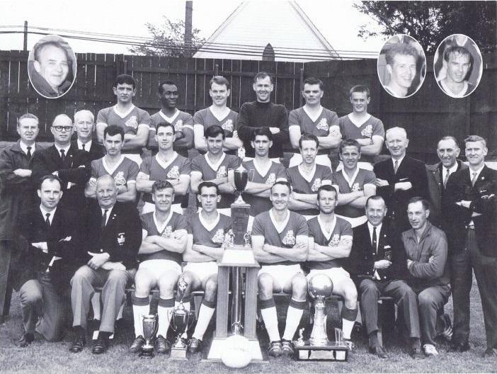 Victoria United—The O'Keefes, show off their cup haul from 1967. Including the Kennedy Cup in the final year of its initial run.