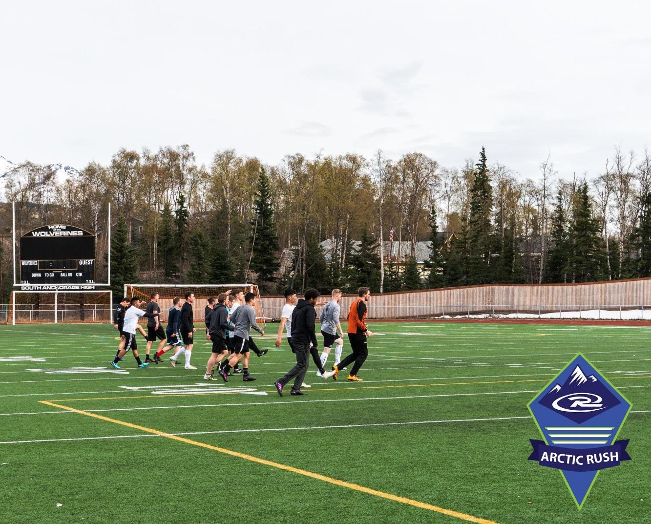 Arctic Rush, the combination of Alaska Rush and Arctic North FC, take in a training session at South Anchorage High School