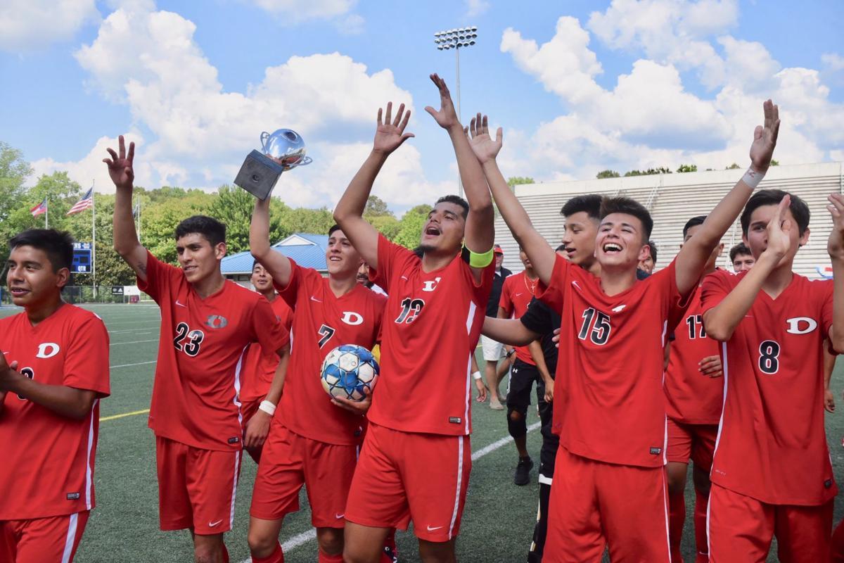 Dalton celebrates the 2019 6A Championship. Photo courtesy of  Daily Citizen-News .