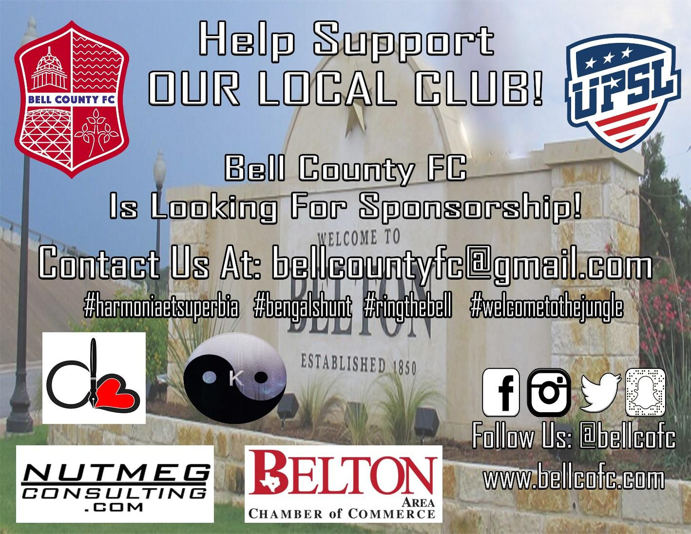 Bell County FC made their announcement on twitter, as well as other social media platforms and have made it easy to follow their path toward the 2019 Fall Season.