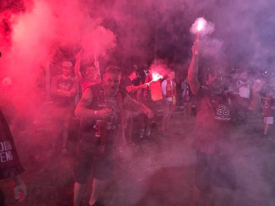 The Red Aces show up to root for Lane United FC, and they don't take it easy; flares, tifo, chants and smoke usually accompany the supporters group from Eugene/Springfield.