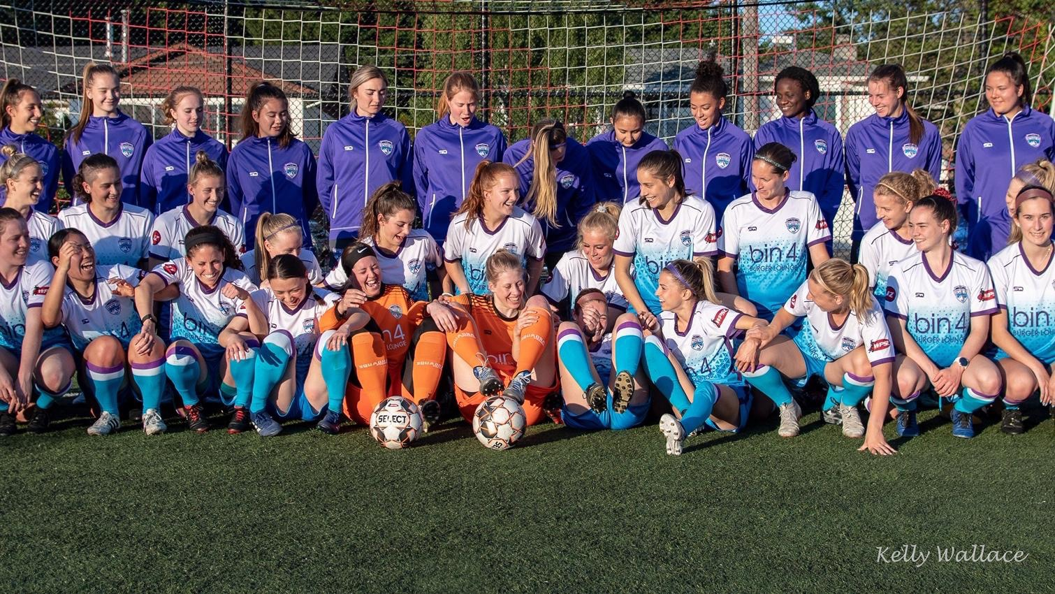 Playing footy should be fun—the women of Vancouver Island FC have a laugh during a team photo shoot.