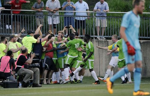 Christos celebrates against DC United. Image courtesy of Baltimore Sun.