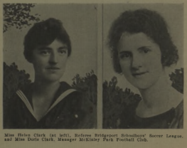 Miss Helen Clark (left), player, coach, referee (Bridgeport, Connecticut) Miss Doris Clark (right) Manager of McKinley Park Football Club, photo from Spalding's Guide to Soccer Football, 1919-20