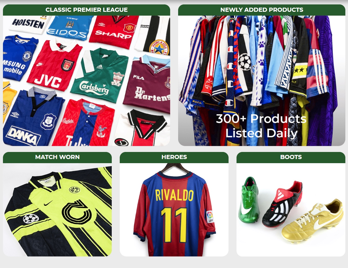 Between their physical locations and their online store, there are an estimated 50,000 items for sale from Classic Football Shirts.