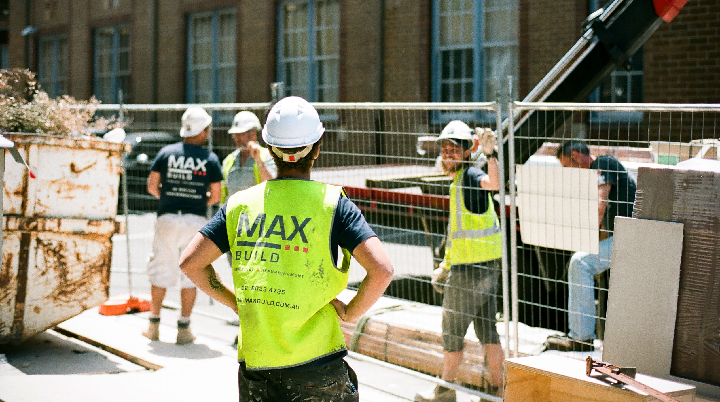 MAX Build site staff attending to a new delivery