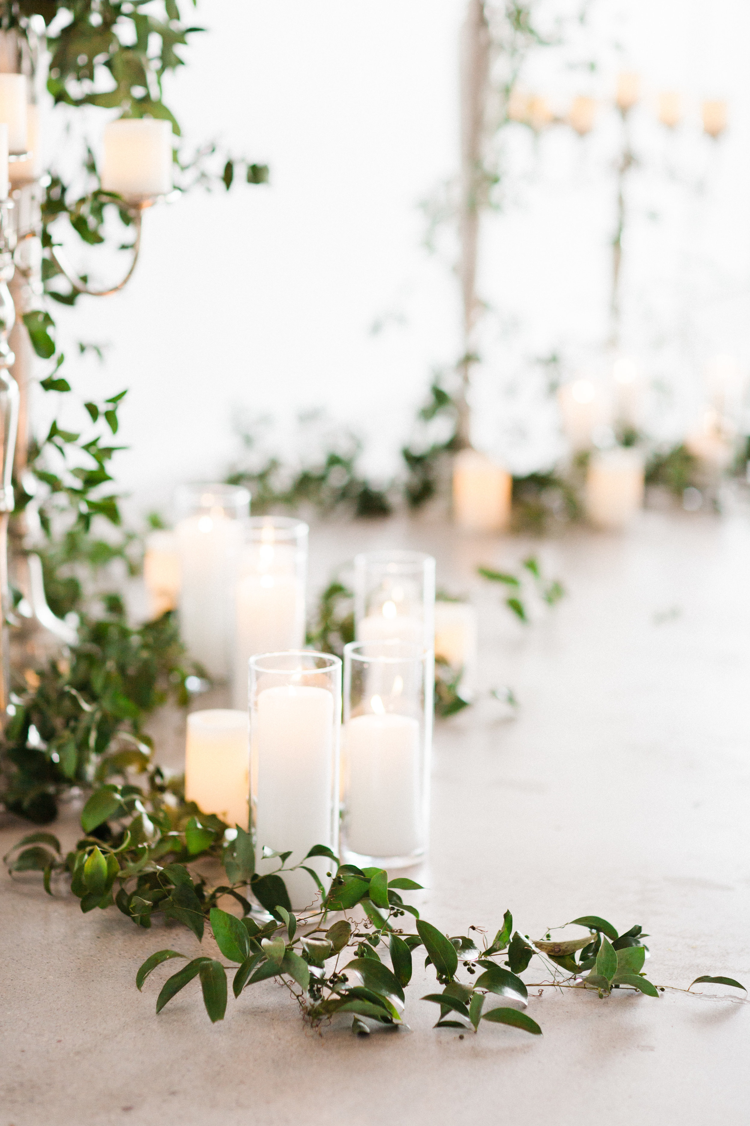 Mauve and Lavender Modern Wedding Inspiration - Greenery and Candle Decor