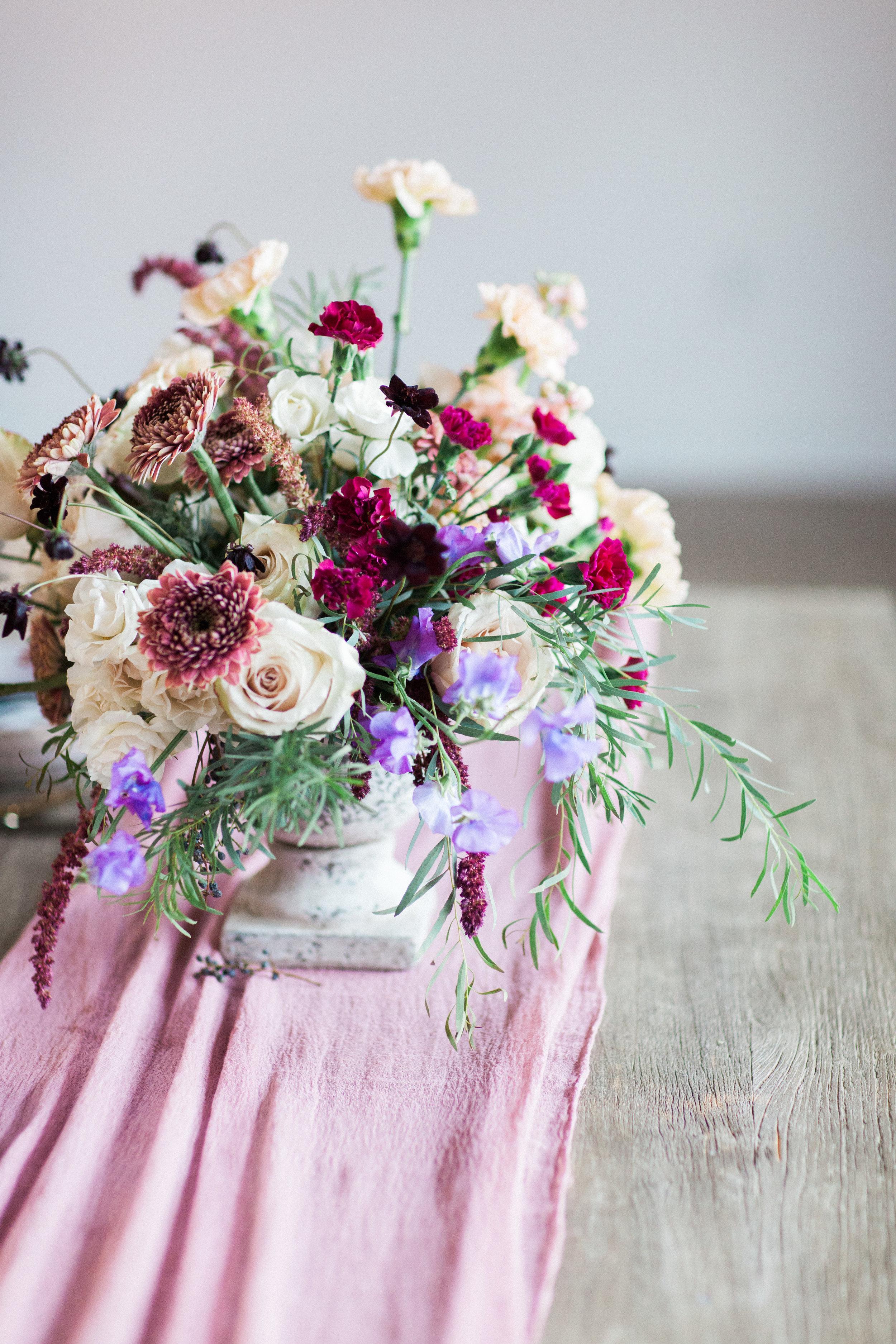 Mauve and Lavender Modern Wedding Inspiration - Centerpiece