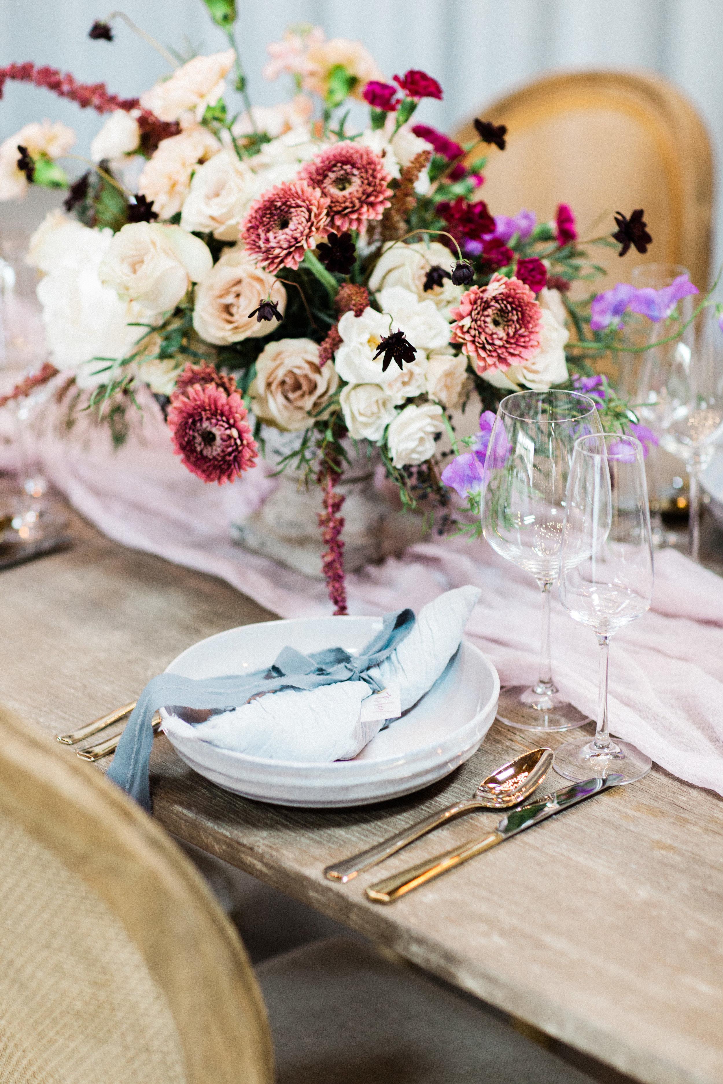Mauve and Lavender Modern Wedding Inspiration - Tablescape
