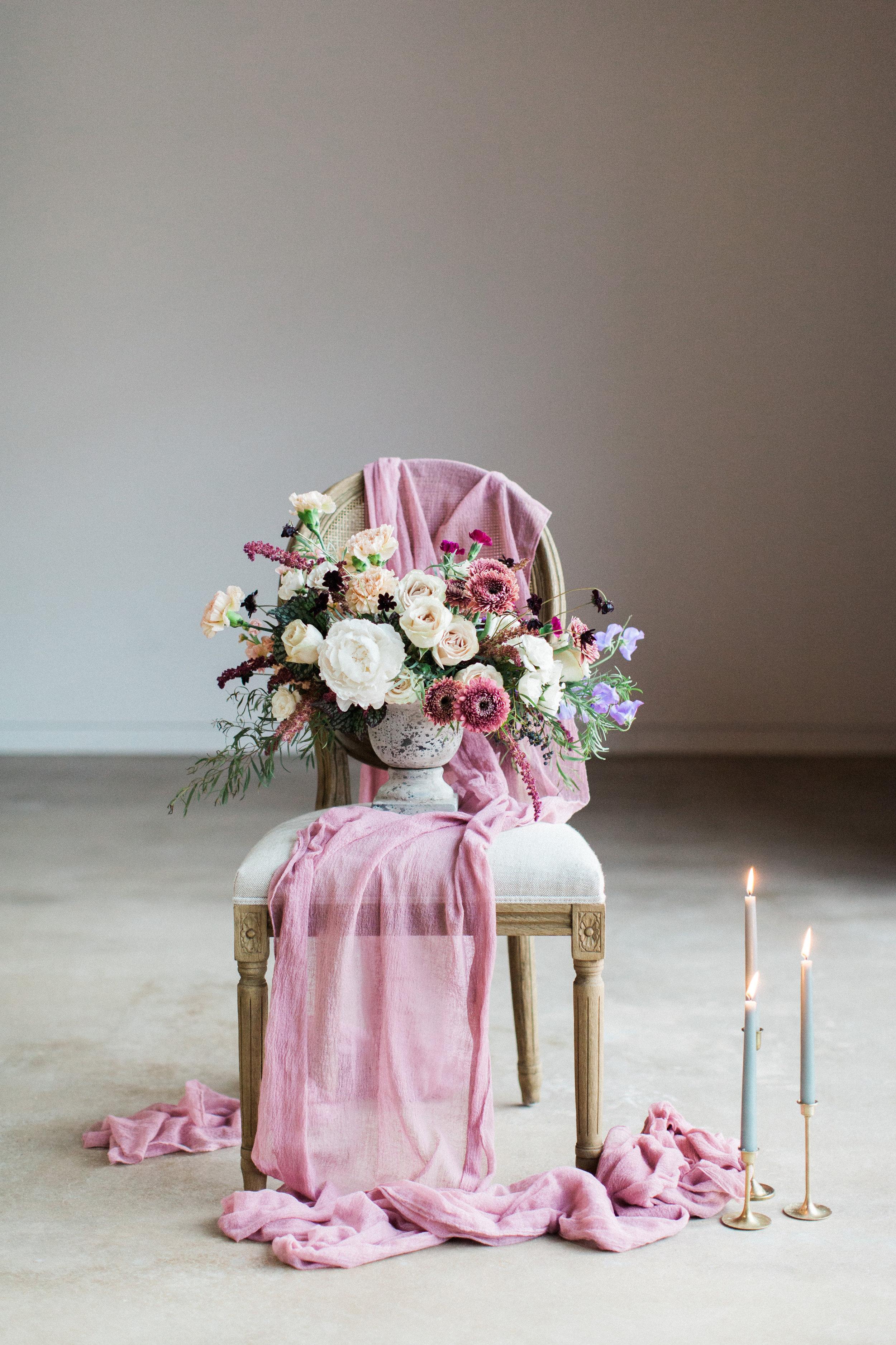 Mauve and Lavender Modern Wedding Inspiration - Flower Centerpiece