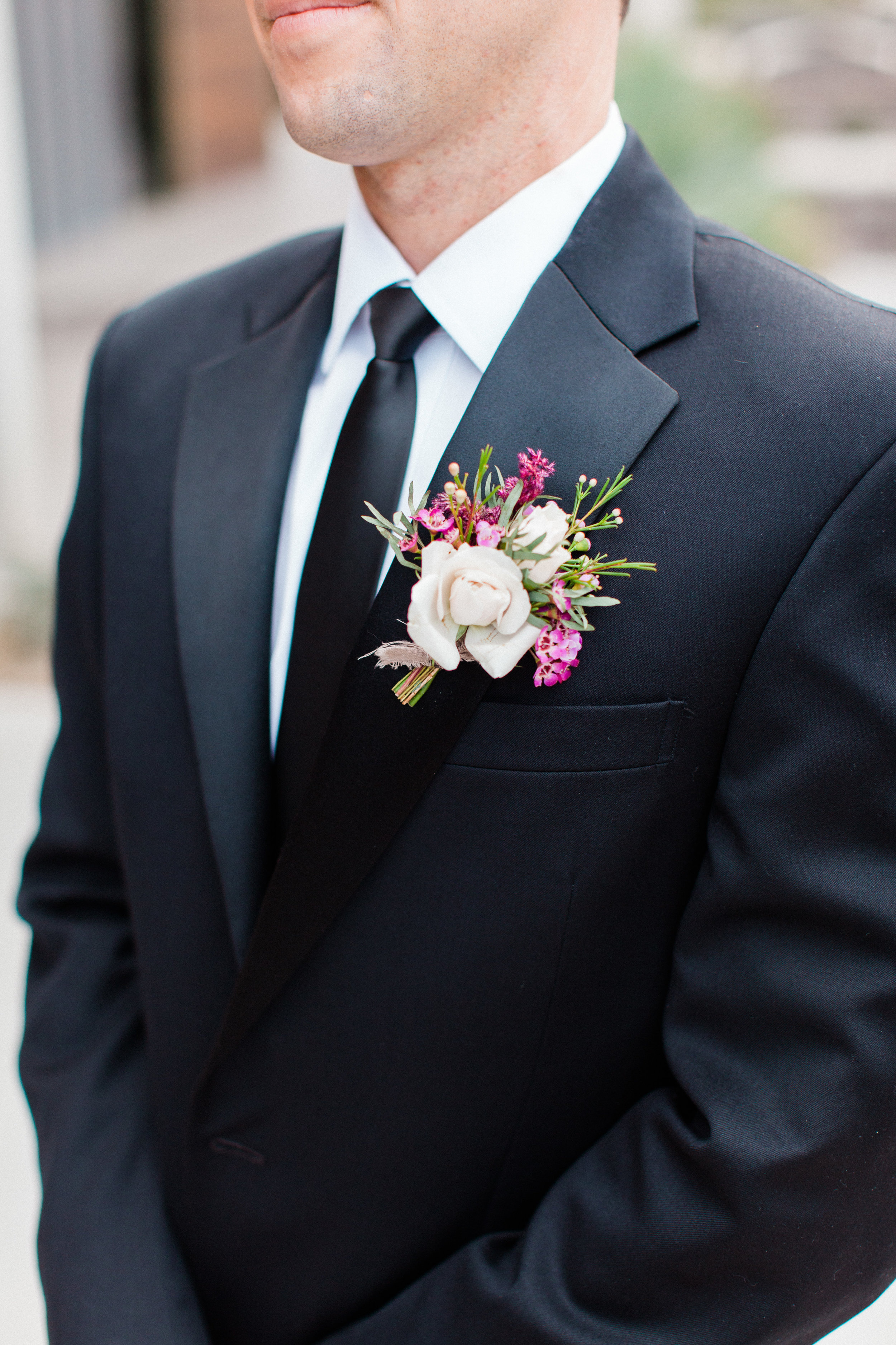 Mauve and Lavender Modern Wedding Inspiration - Groom Boutonniere