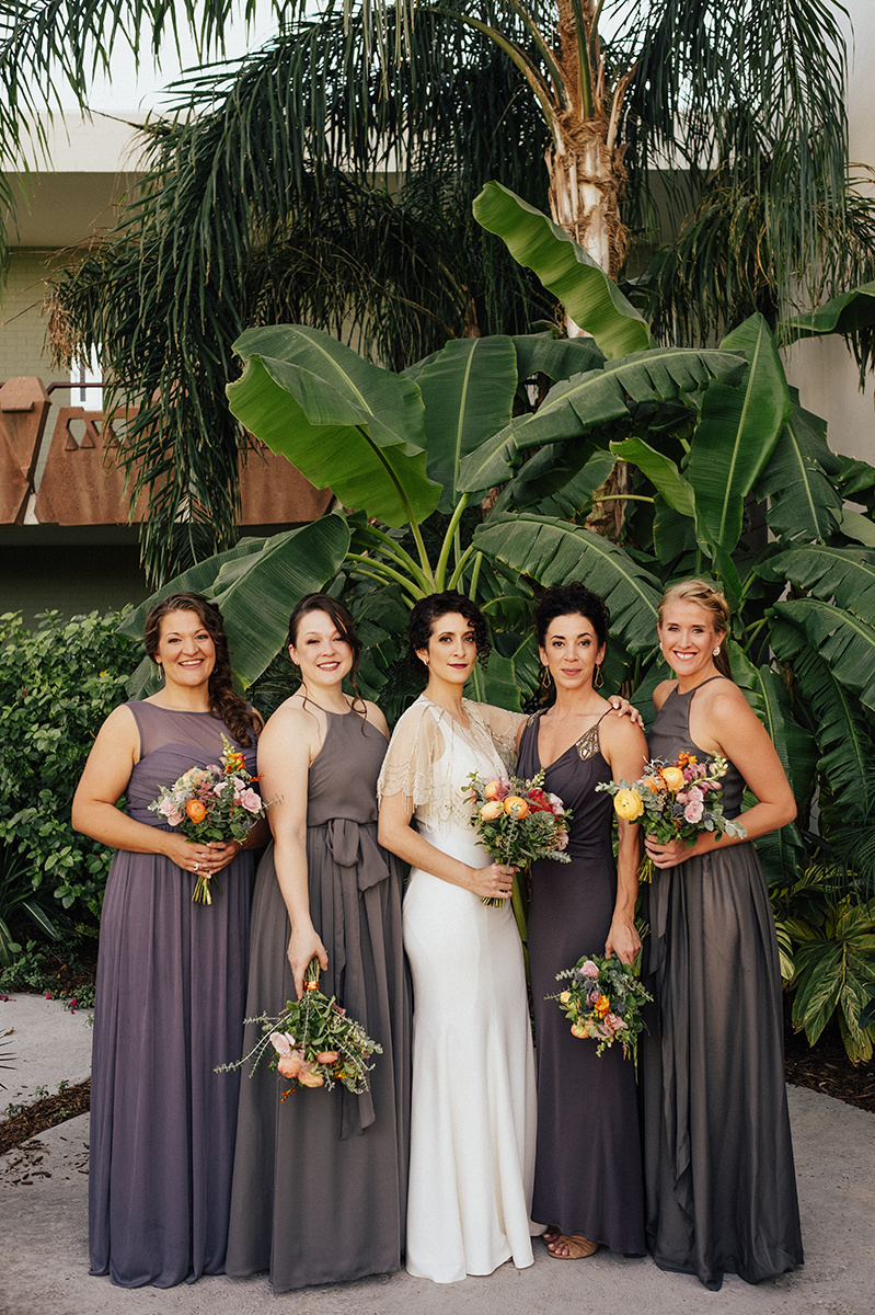 Bright, Mid-Century Modern Tropical Wedding Inspiration - Bridal Party Style