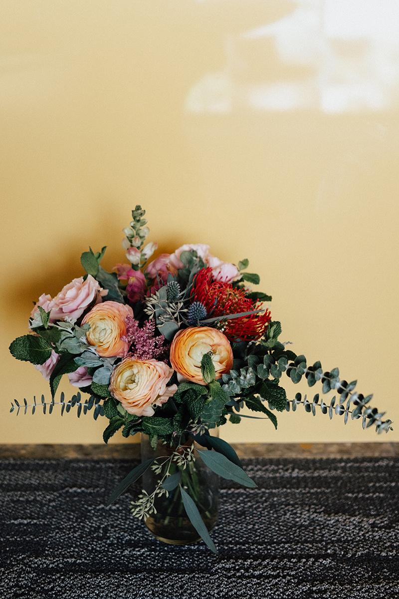 Bright, Mid-Century Modern Tropical Wedding Inspiration - Bouquet