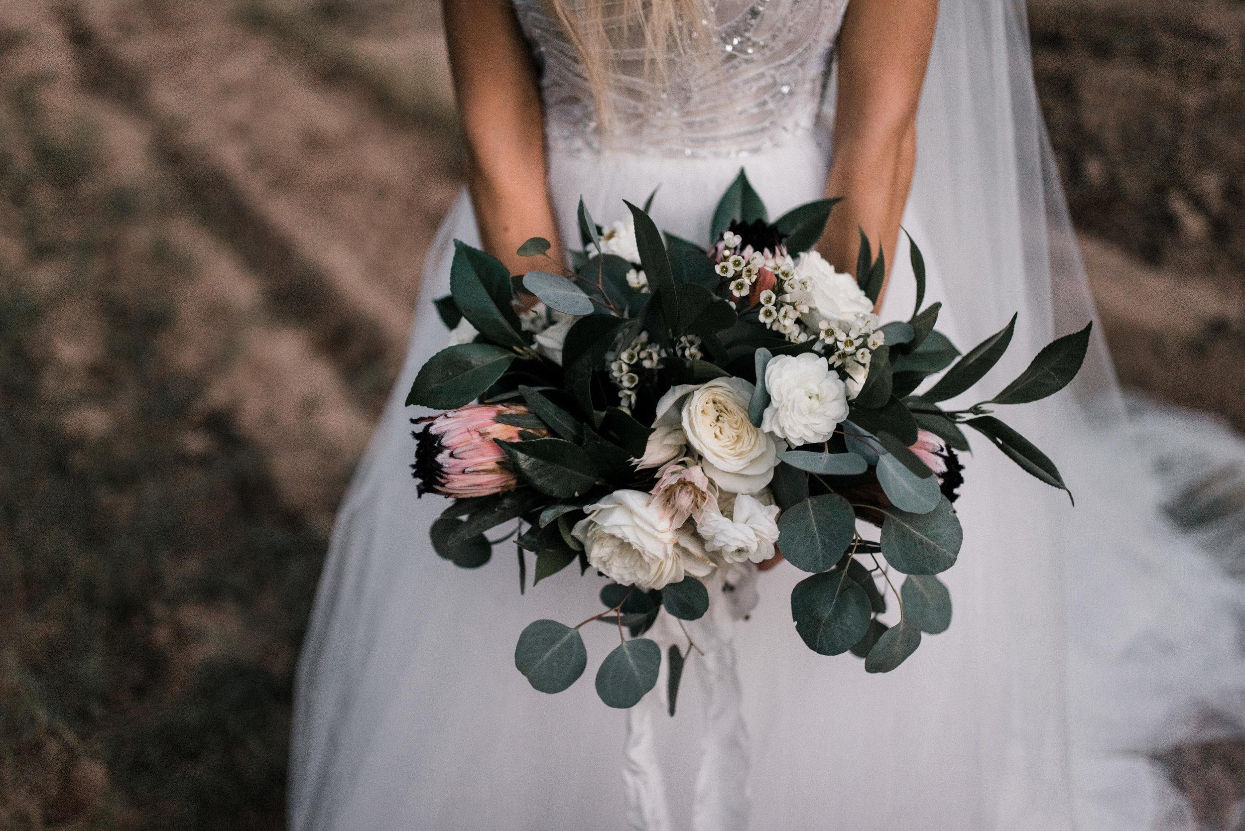 Moody, Romantic Arizona Wedding - Garden Rose Bouquet