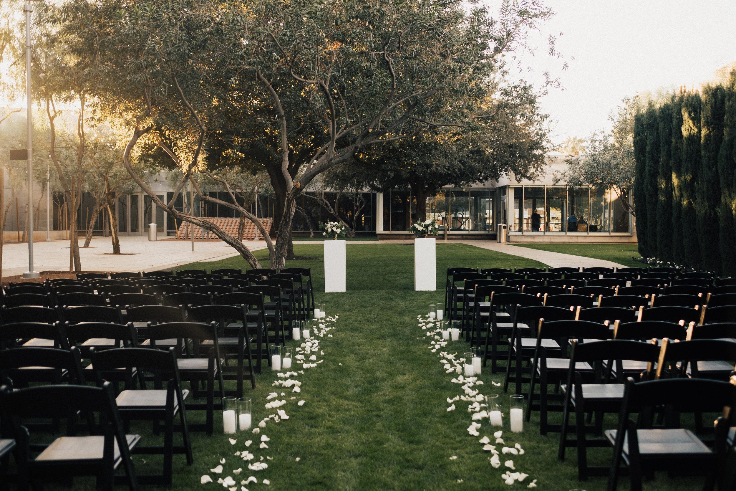 Black and White Art Museum Wedding