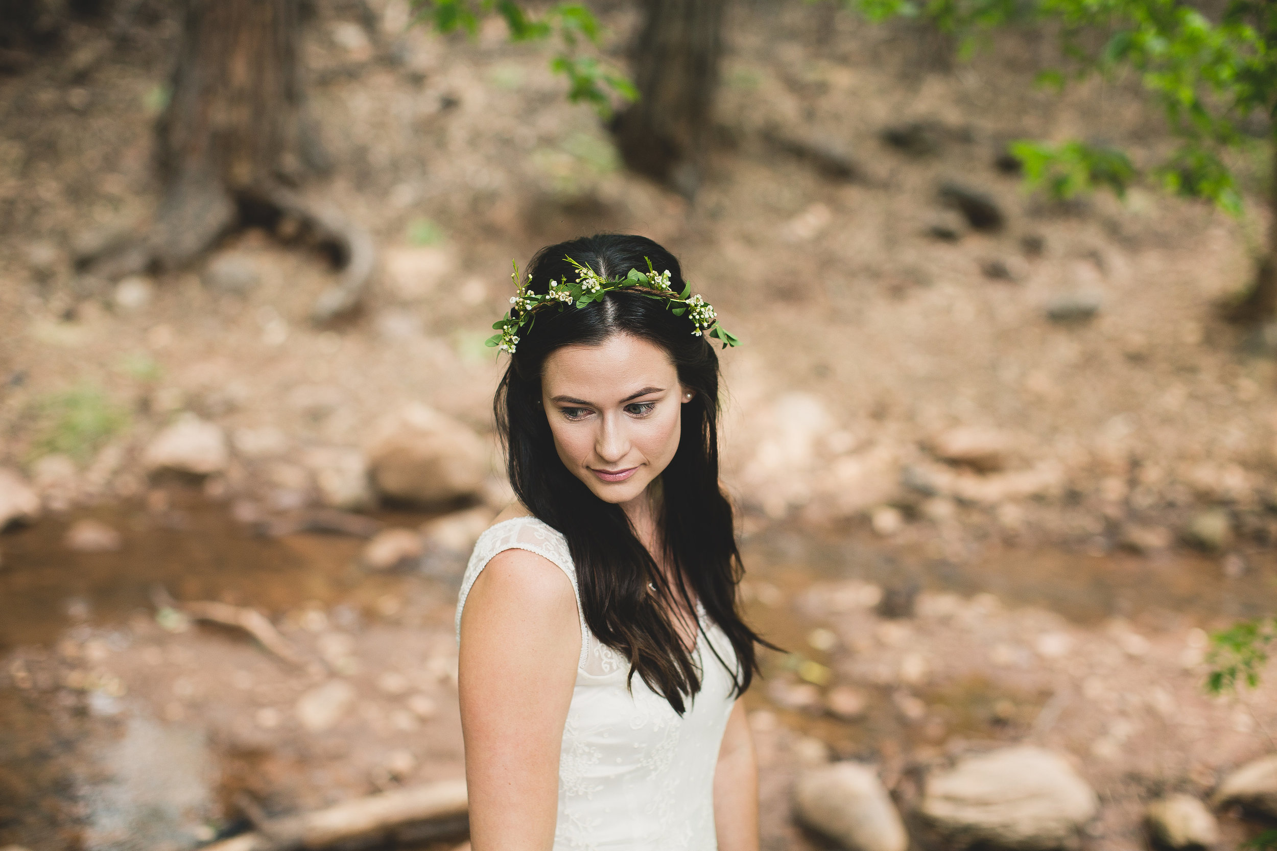 Boy Scout Camp Wedding - Bhldn Gown and Flower Crown