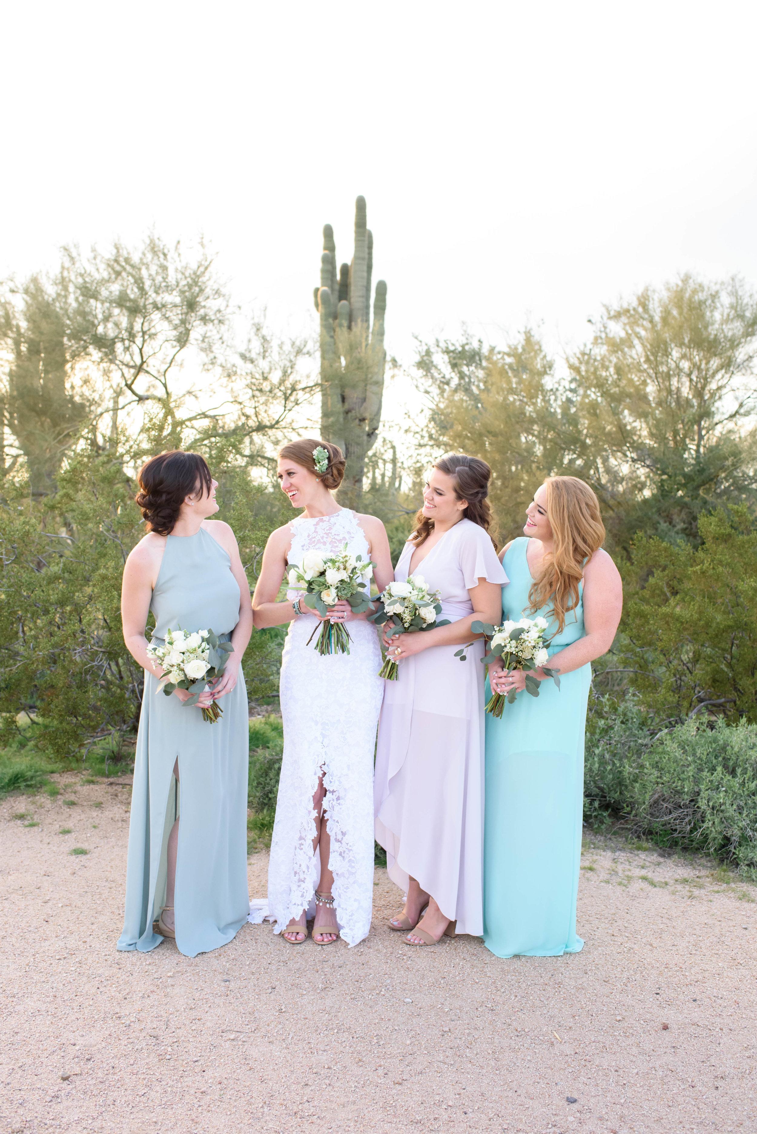 Colorful Desert Wedding - Bride and Bridesmaids