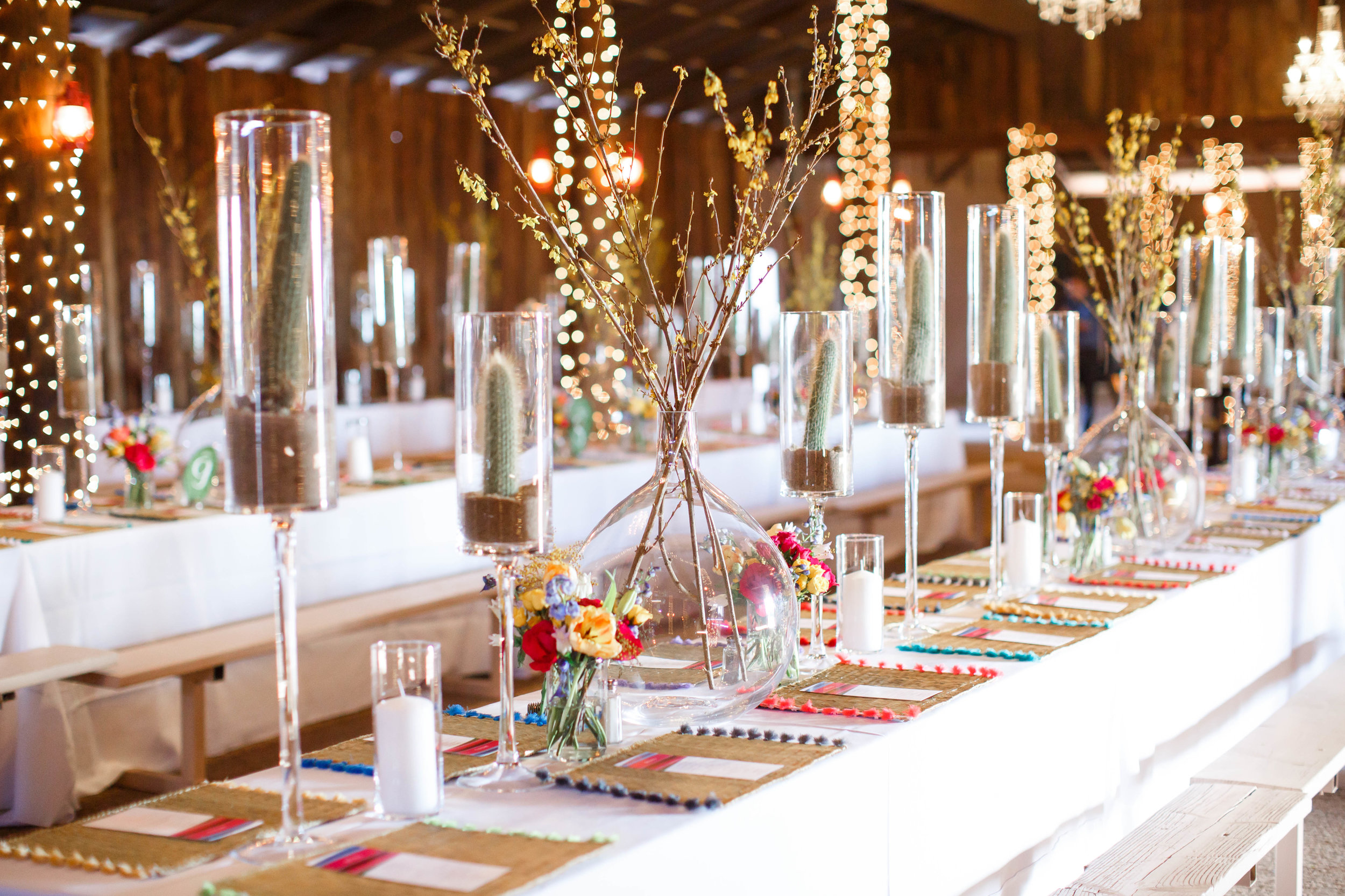 Colorful Desert Barn Wedding Reception