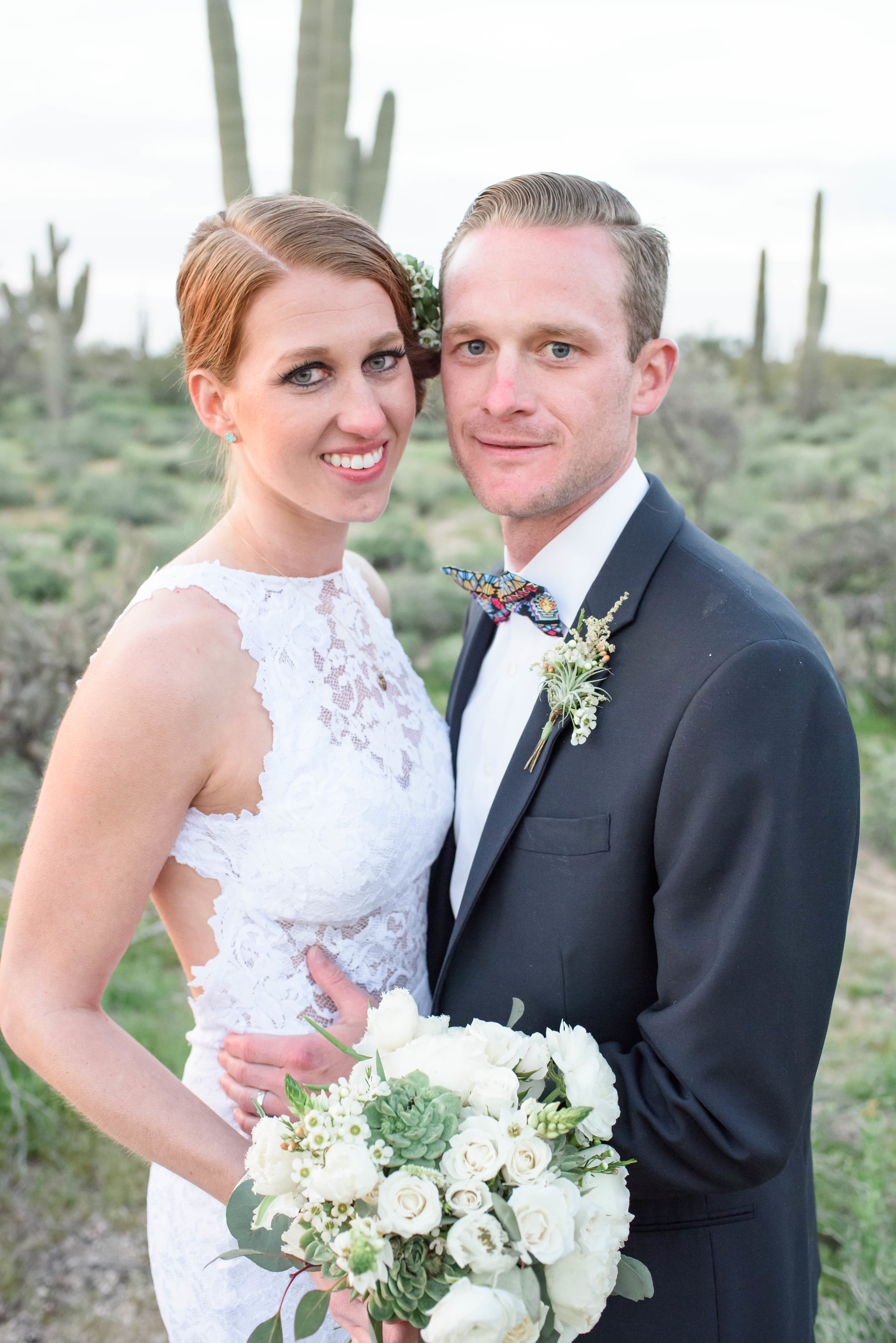 Desert Wedding with White Flowers and Succulents