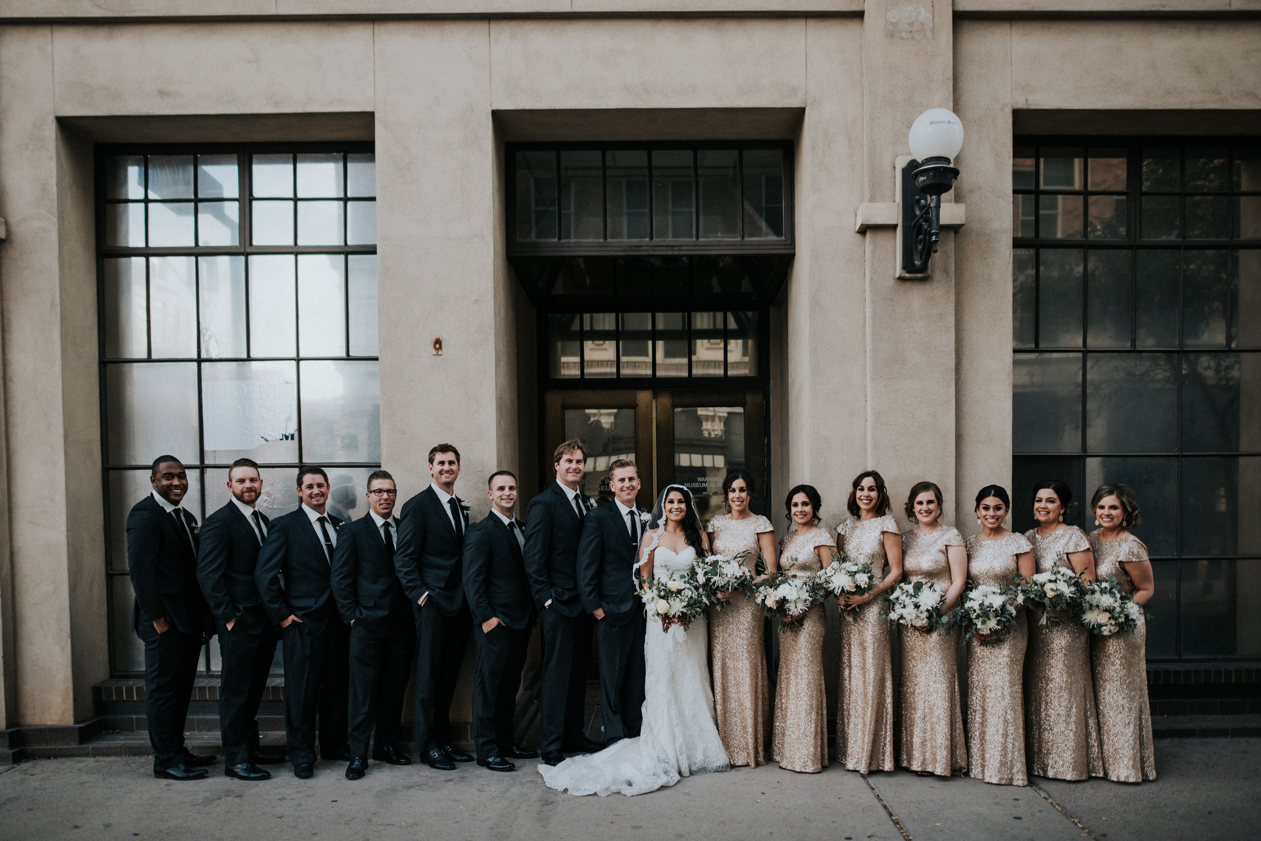 Downtown Phoenix Moody Glam Wedding - Bridal Party