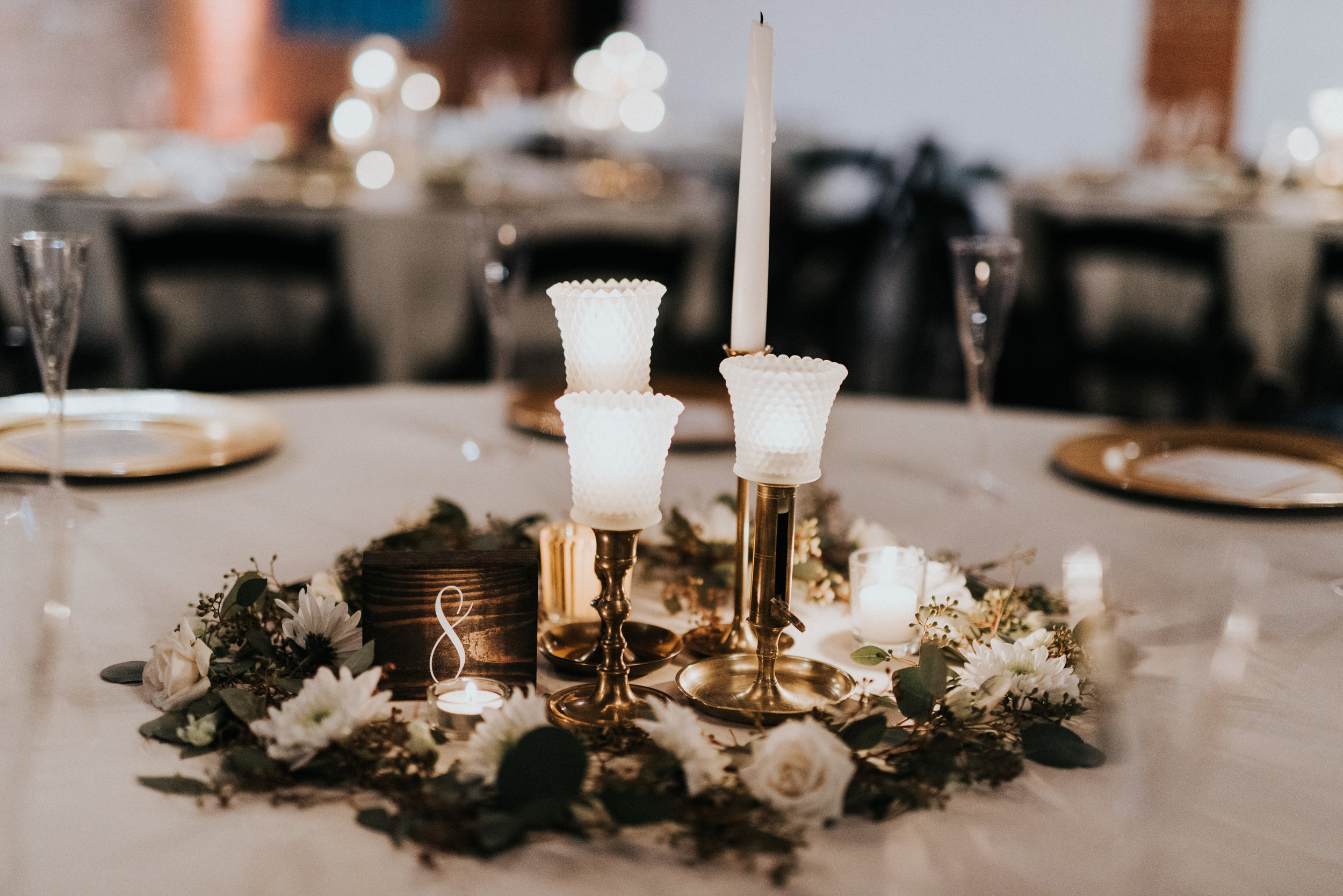 Downtown Phoenix Moody Glam Wedding - Vintage Candle Centerpiece