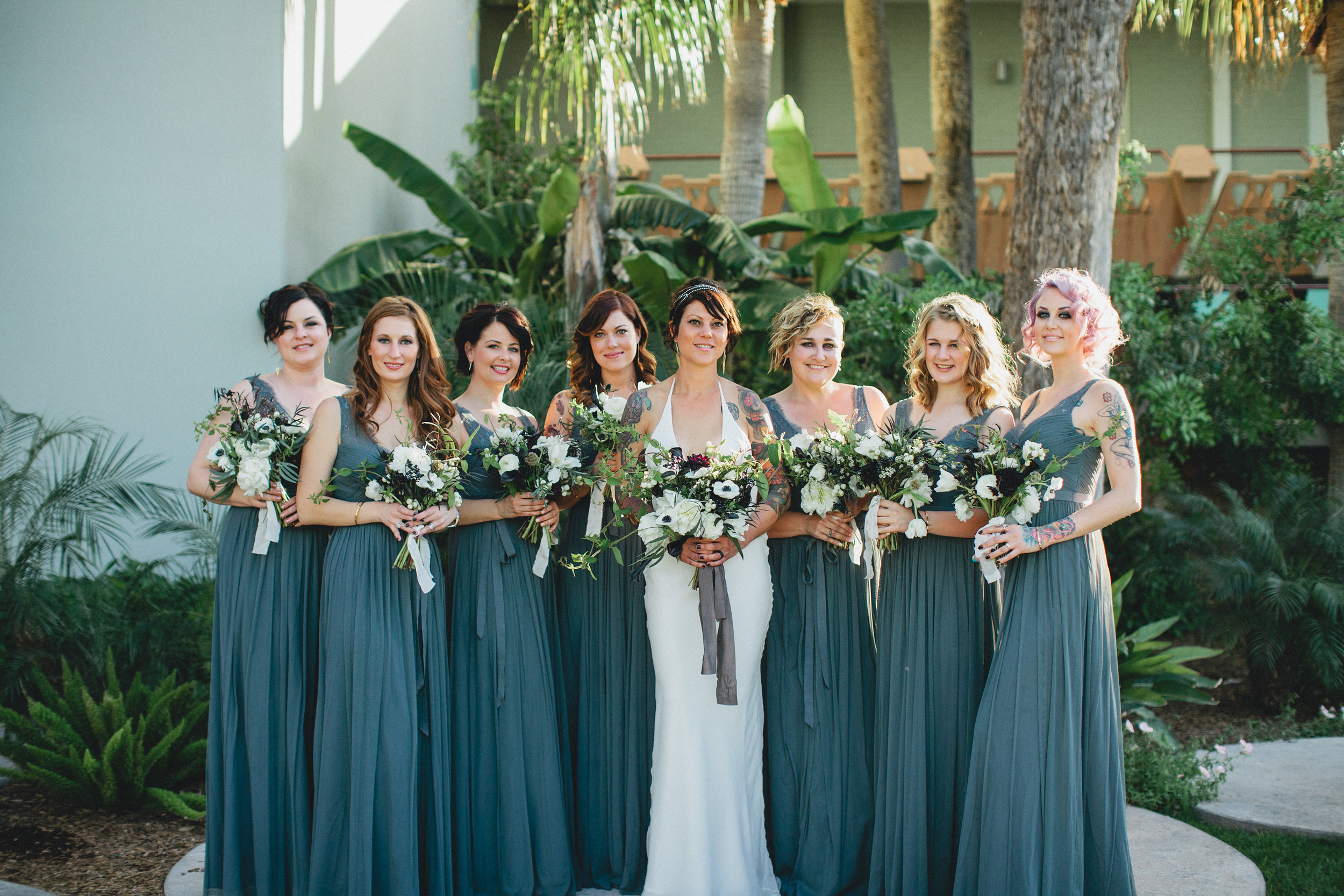 Black and White Hotel Valley Ho Wedding - Bride and Bridesmaids
