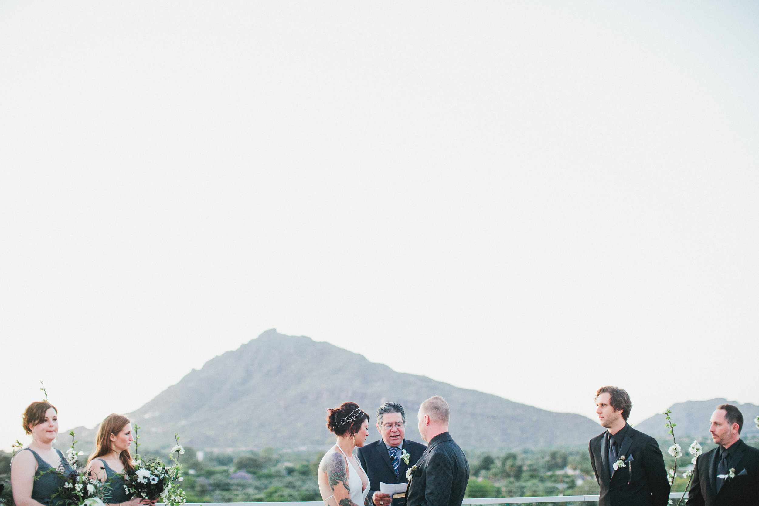 Black and White Hotel Valley Ho Wedding - Camelback Mountain View Ceremony