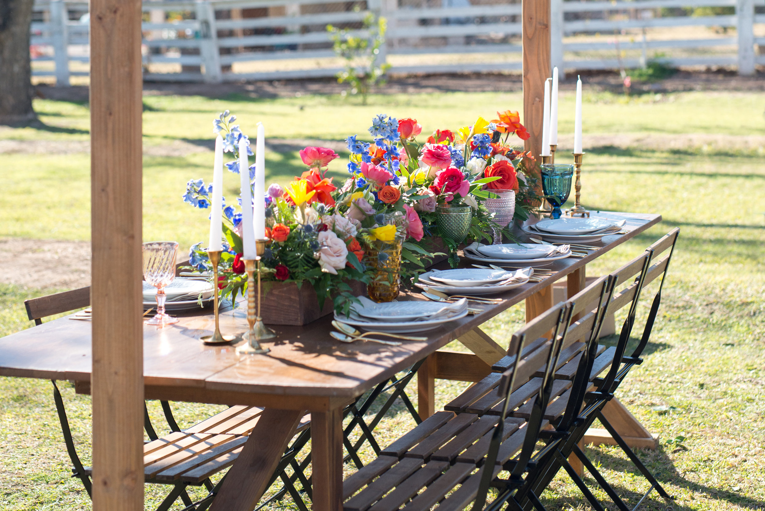 Colorful Table at Farm at South Mountain Wedding