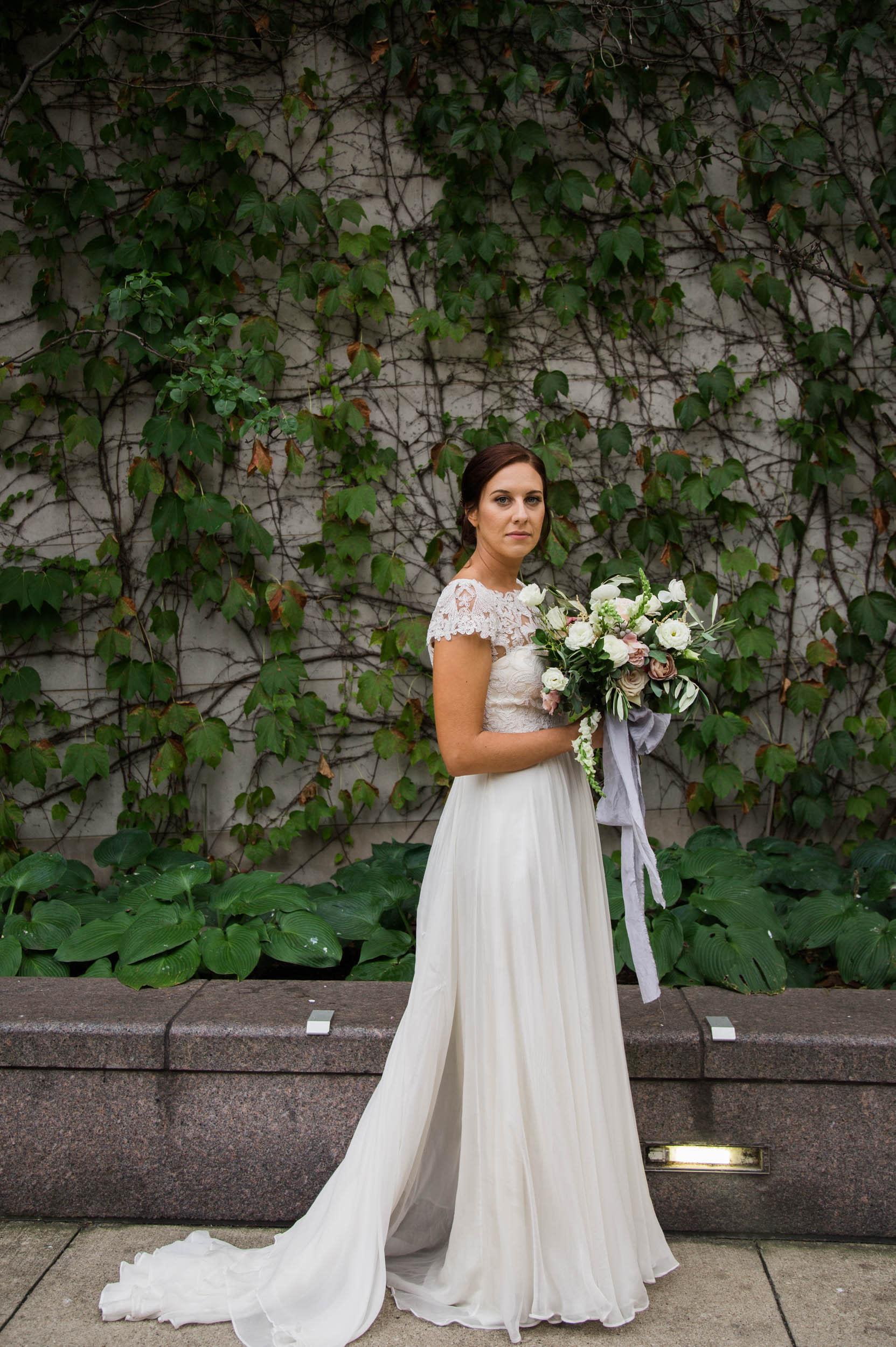 Chicago Wedding - Bride in Bhldn Gown