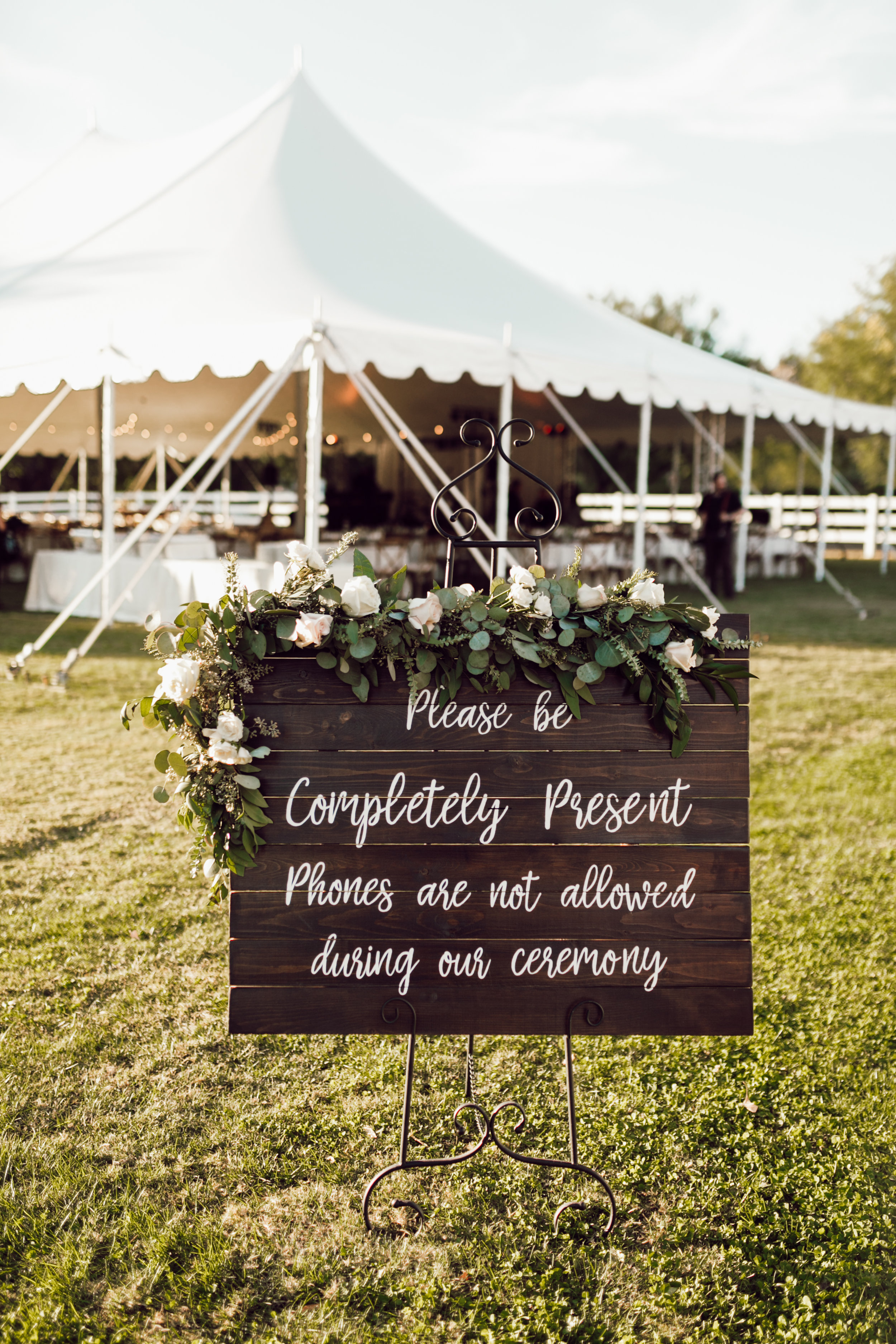 DA Ranch Fall Wedding - No Cell Phone Sign for Ceremony