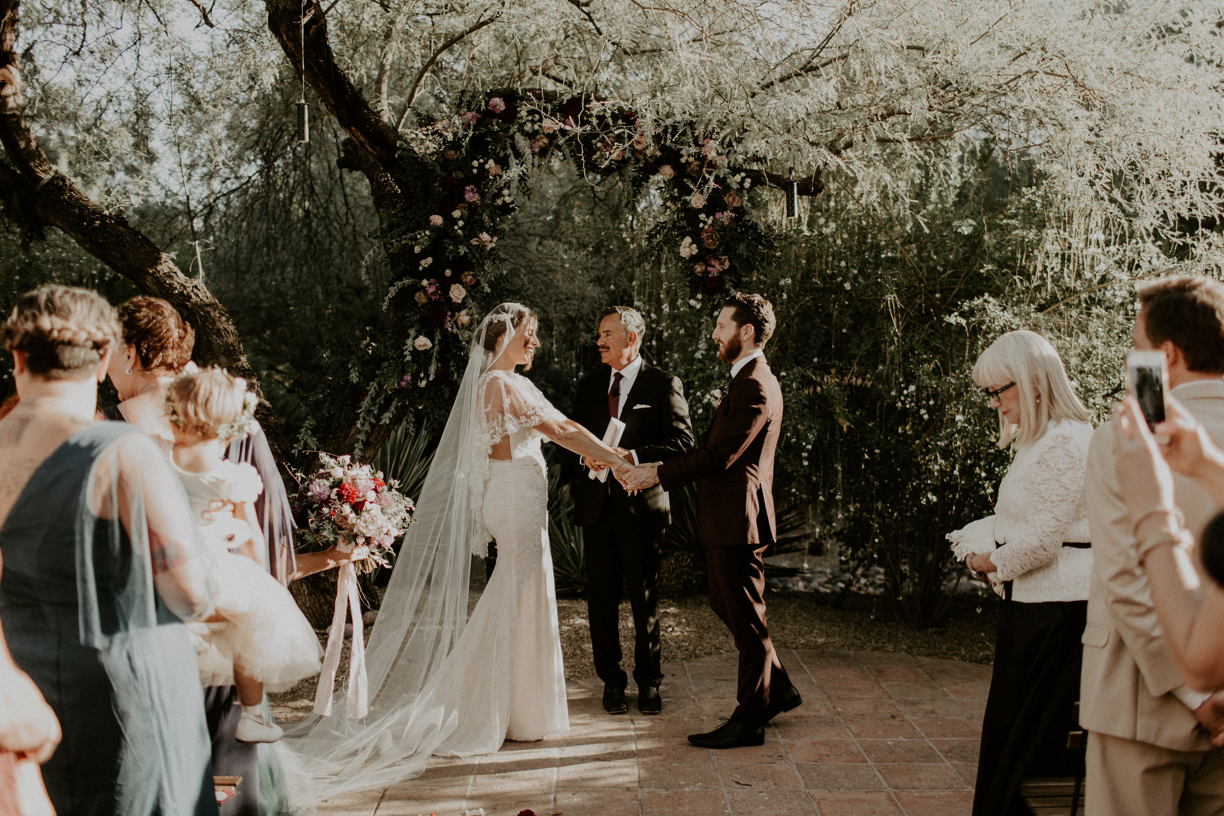 Moody Desert Wedding - Ceremony around floral tree installation