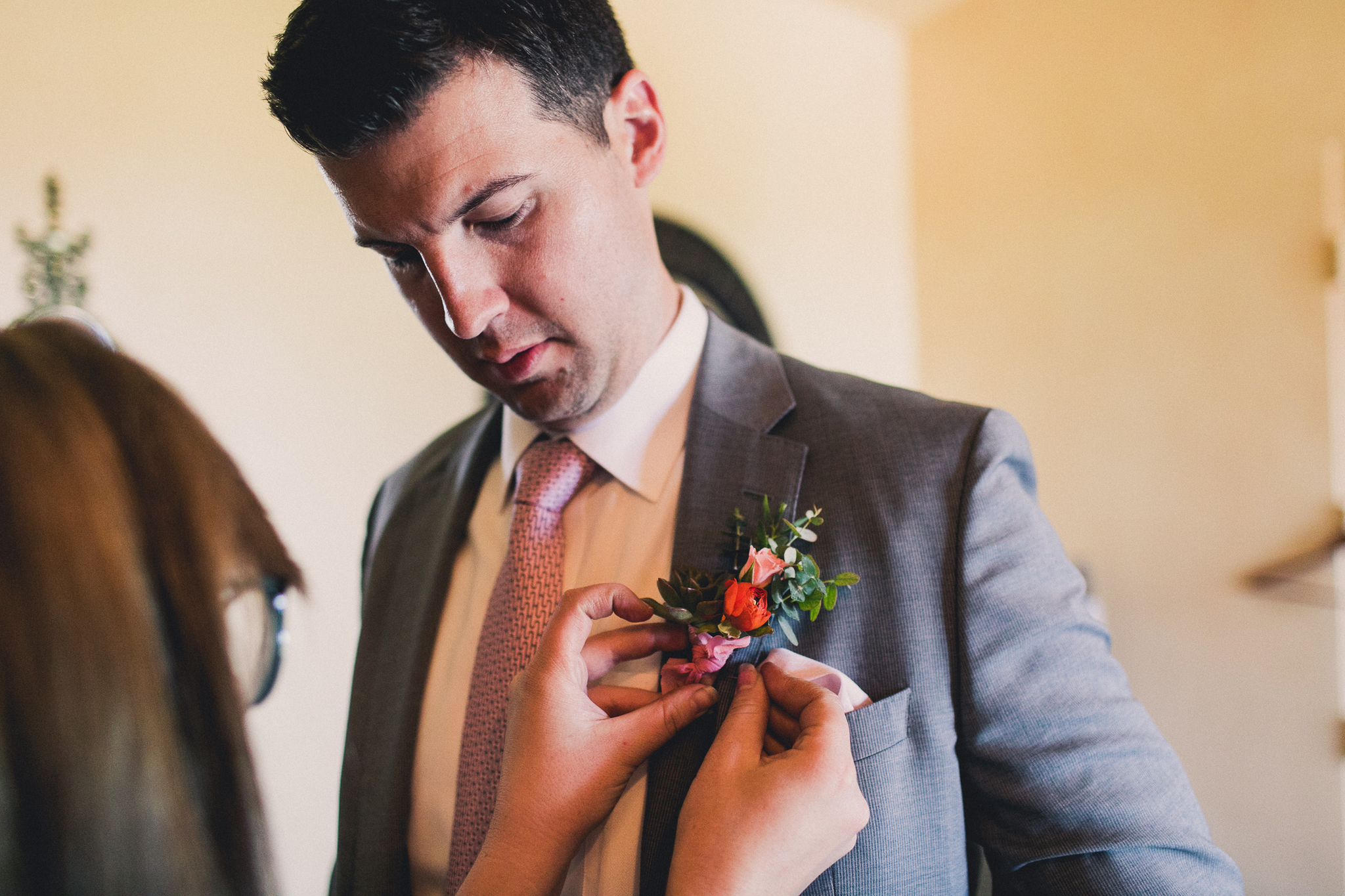 Colorful Springtime Wedding at Wrigley Mansion - Groom Boutonniere