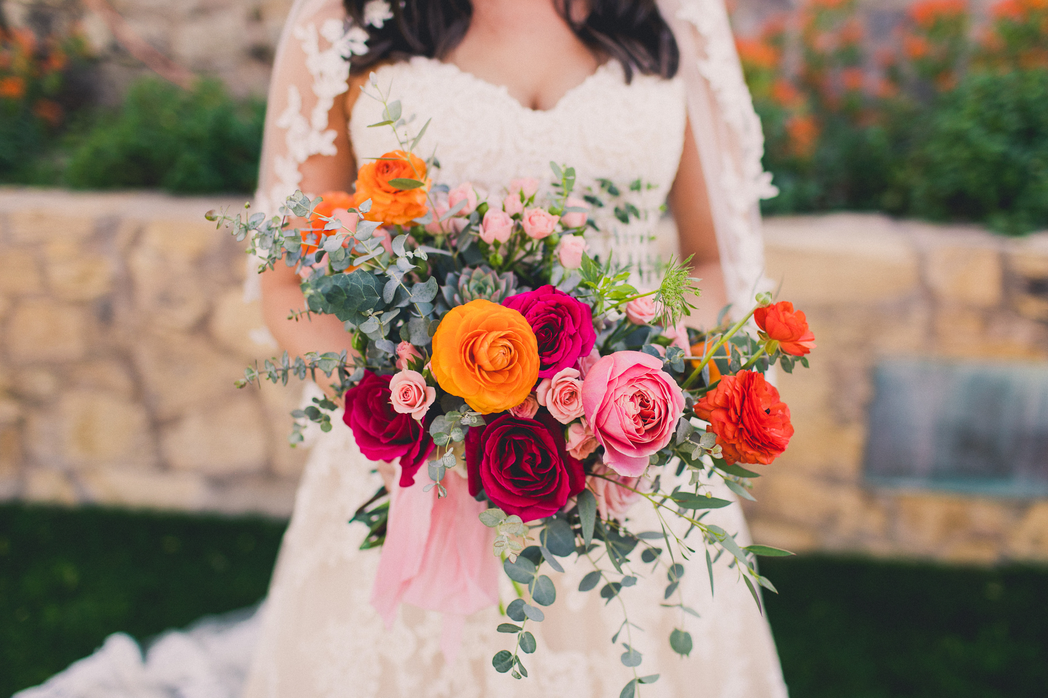 Colorful Springtime Wedding at Wrigley Mansion - Bridal Bouquet with garden roses, succulents, and eucalyptus