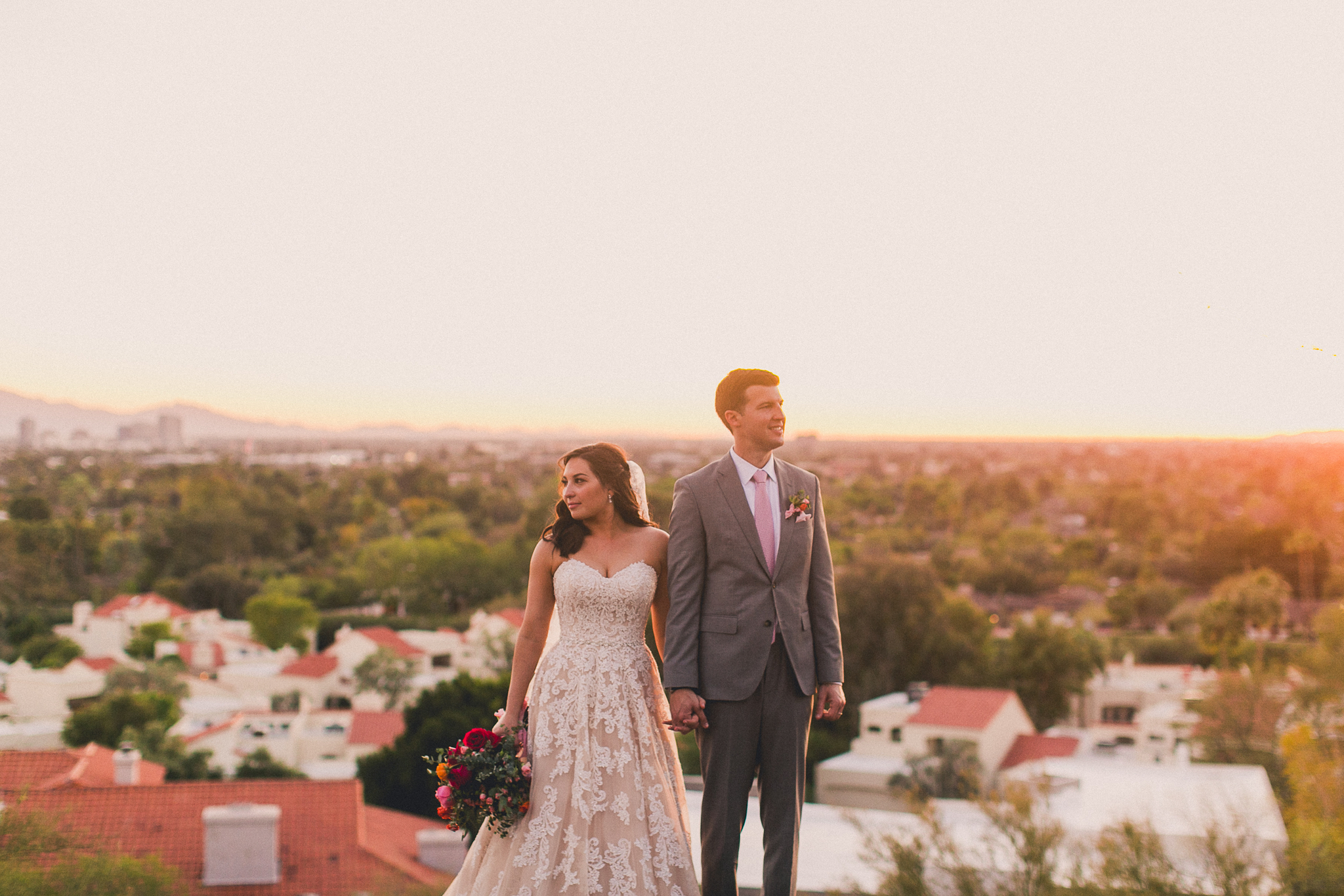 Colorful Springtime Wedding at Wrigley Mansion - Sunset Portraits