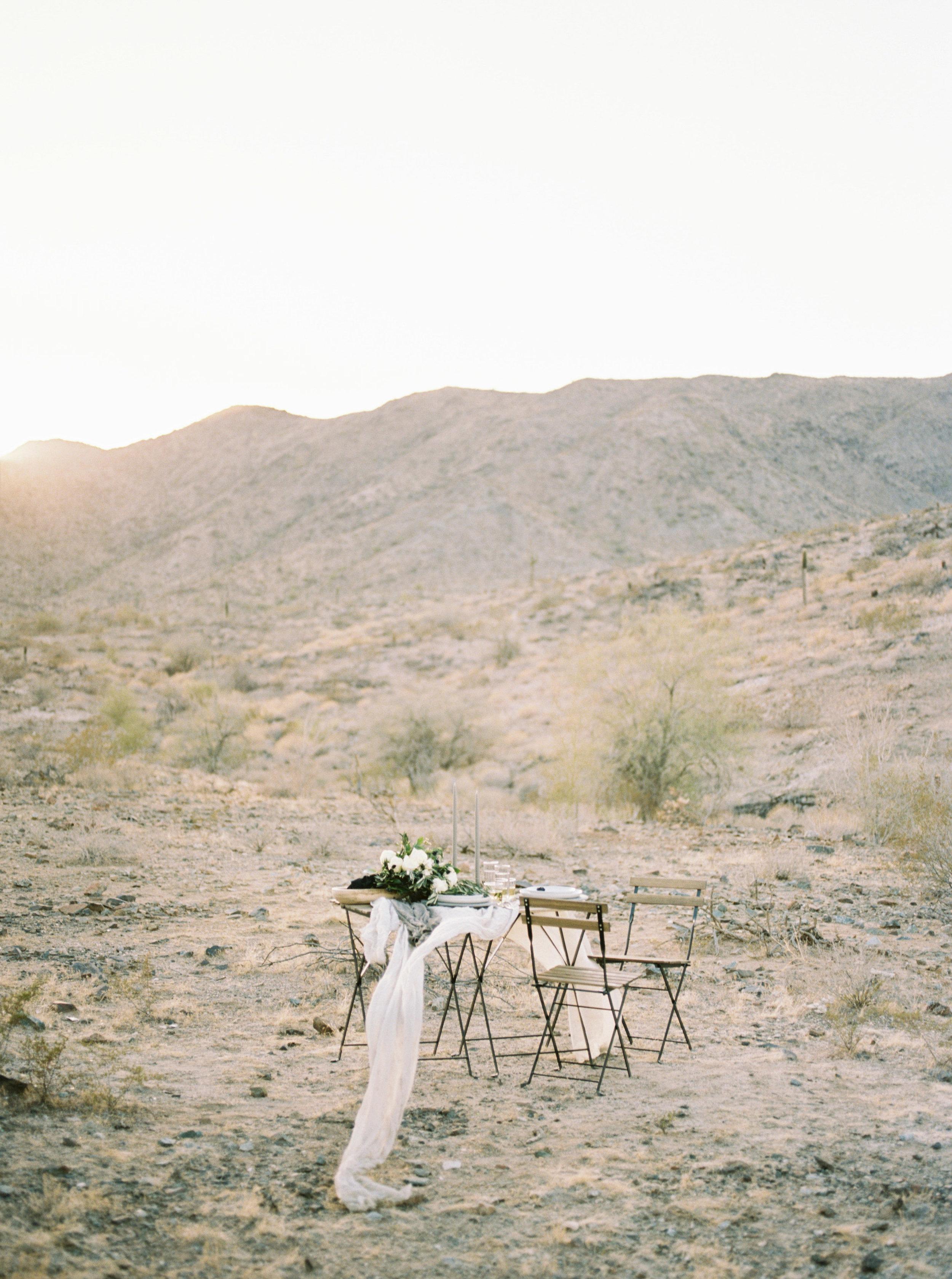 Fine Art Desert Elopement - Table for two in the desert