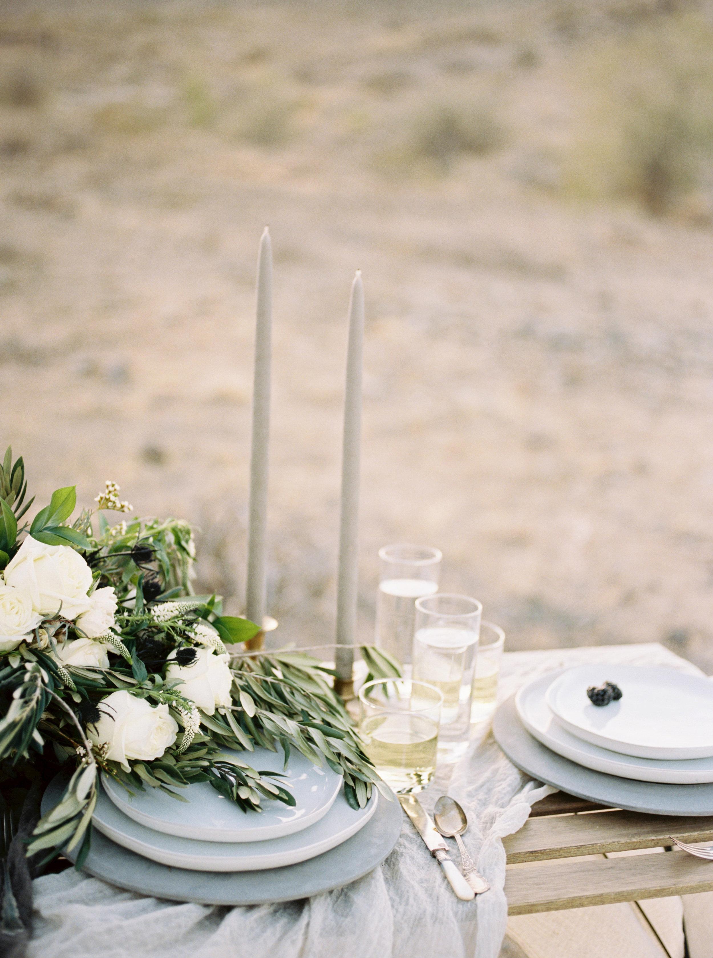 Fine Art Desert Elopement - White and grey tabletop decor
